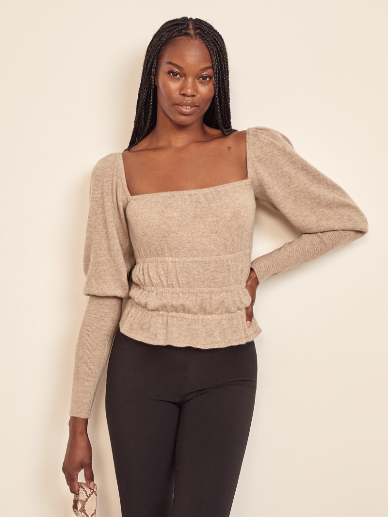 Reformation Vecchio Puff Sleeve Sweater in Oatmeal $198