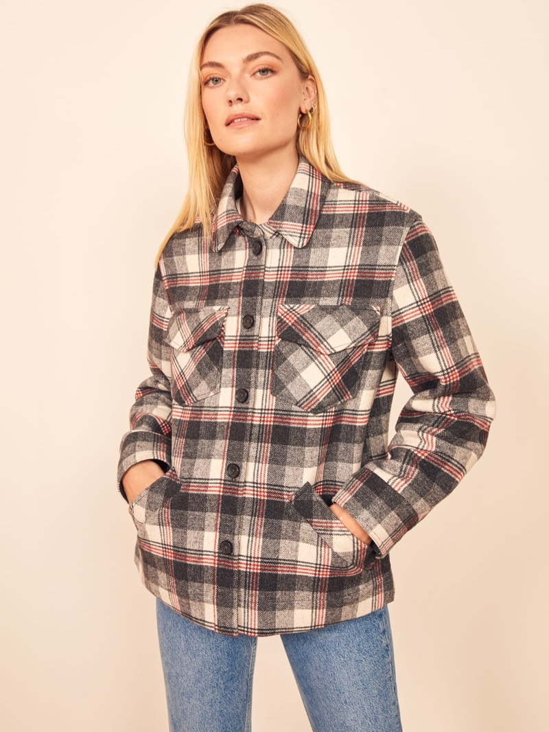 Reformation Woodside Jacket in Charcoal Check $228