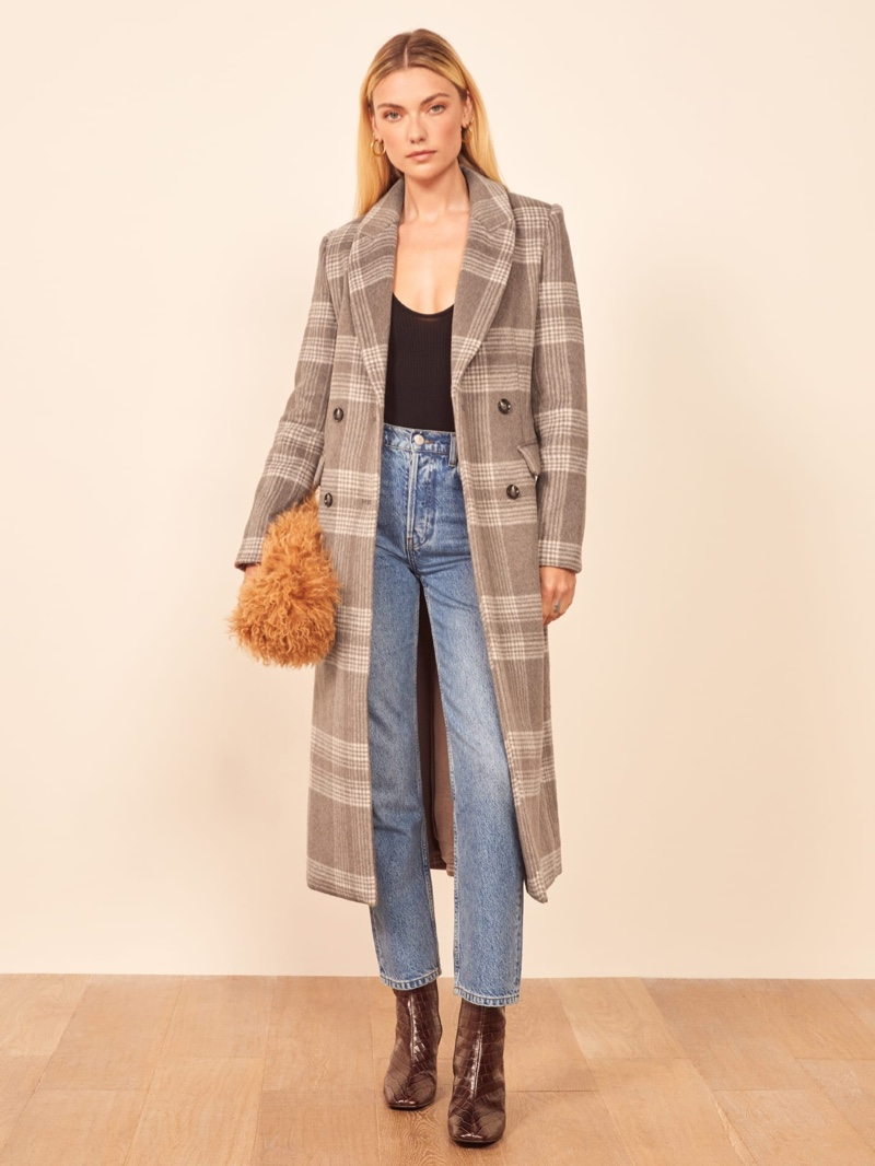 Reformation York Coat in Brown Check $328
