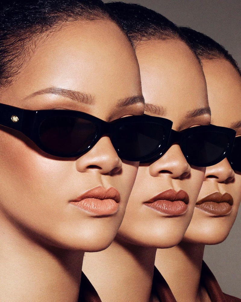 Rihanna poses in Fenty Beauty Stunna Lip Paint campaign