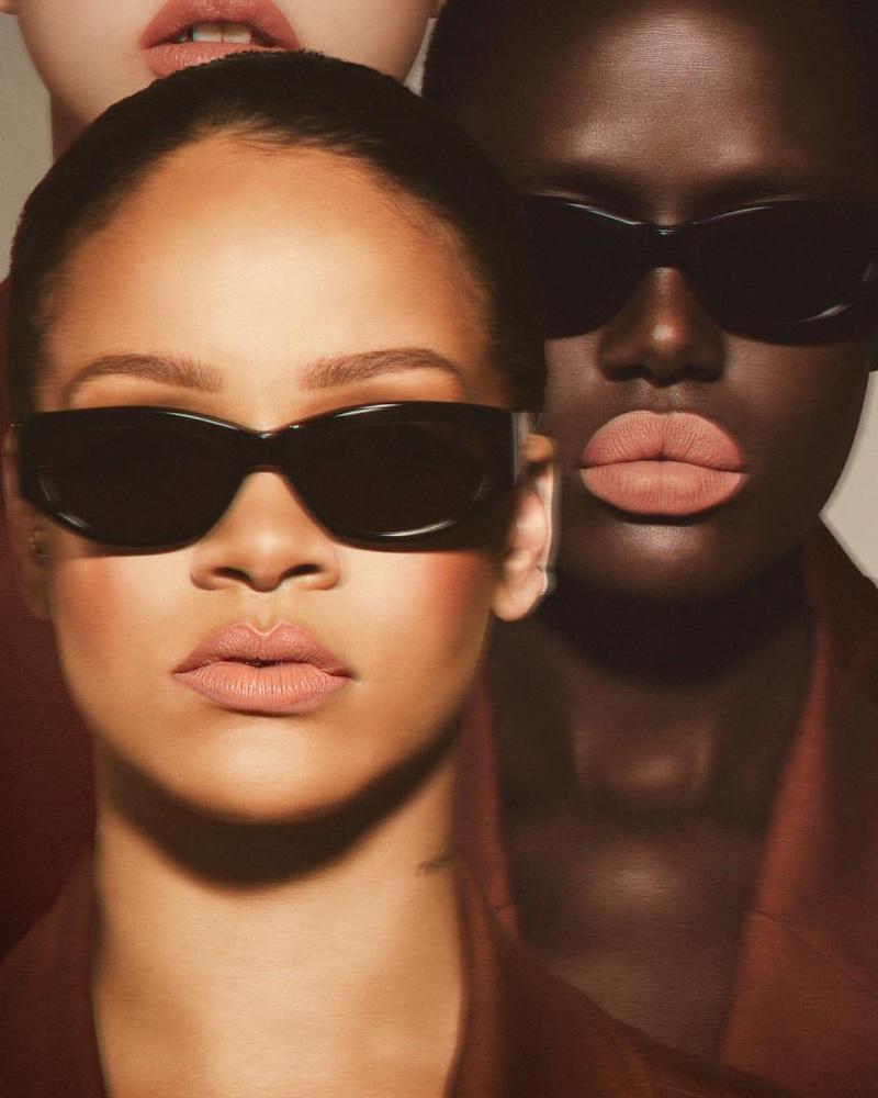 Rihanna and Ajak Deng front Fenty Beauty Stunna Lip Paint campaign