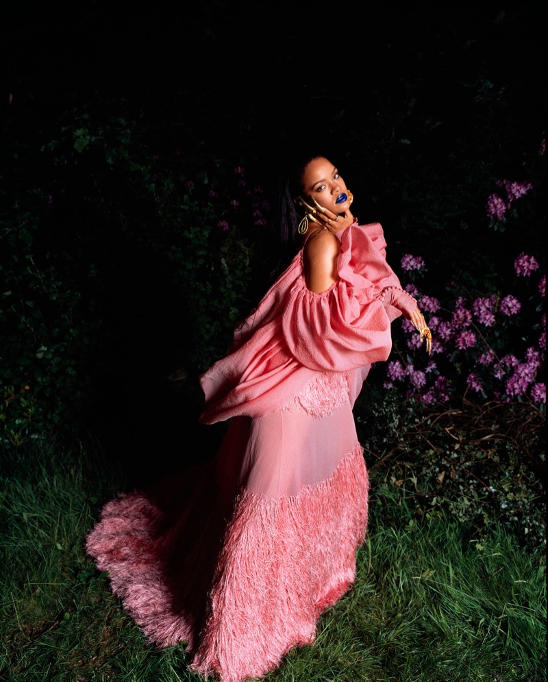 Rihanna poses in Alexander McQueen gown with Tiffany & Co. rings