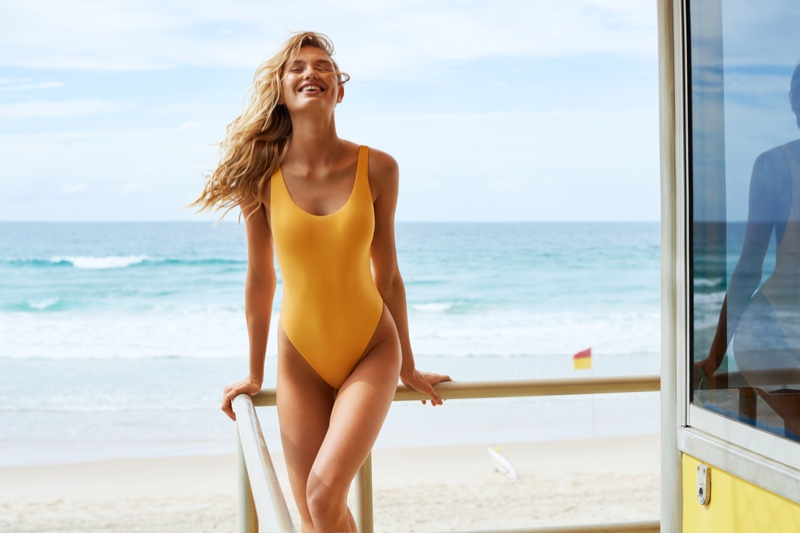 Romee Strijd models one-piece swimsuit in Seafolly fall 2018 campaign