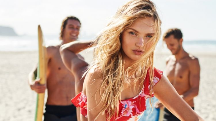 Posing on the beach, Romee Strijd appears in Seafolly fall 2018 campaign
