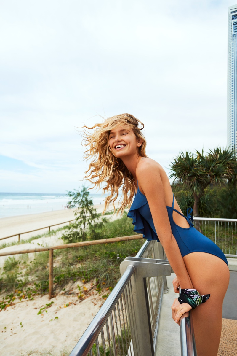 Flashing a smile, Romee Strijd fronts Seafolly fall 2018 campaign