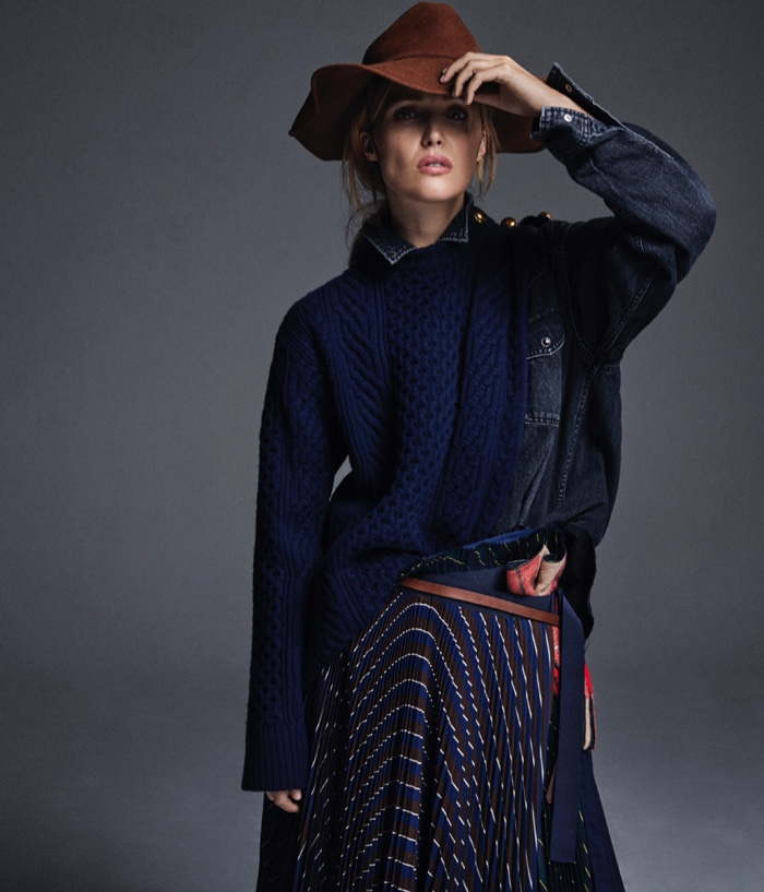 Rose Byrne poses in Sacai sweater and skirt with Sonia Rykiel gloves and hat