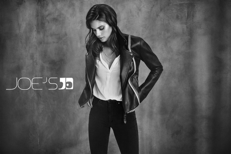 Model Sara Sampaio wears leather jacket in Joe's Jeans fall-winter 2018 campaign