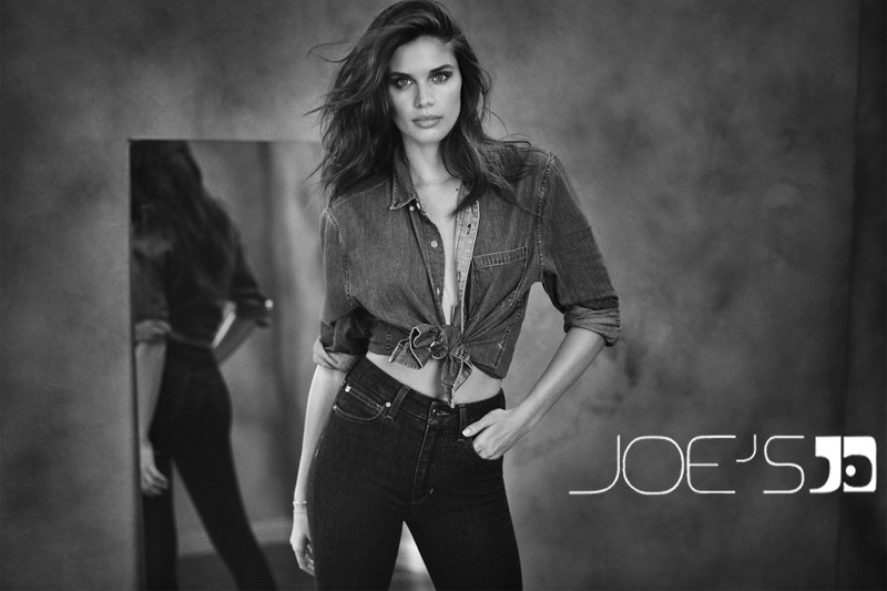 Wearing denim on denim, Sara Sampaio fronts Joe's Jeans fall-winter 2018 campaign