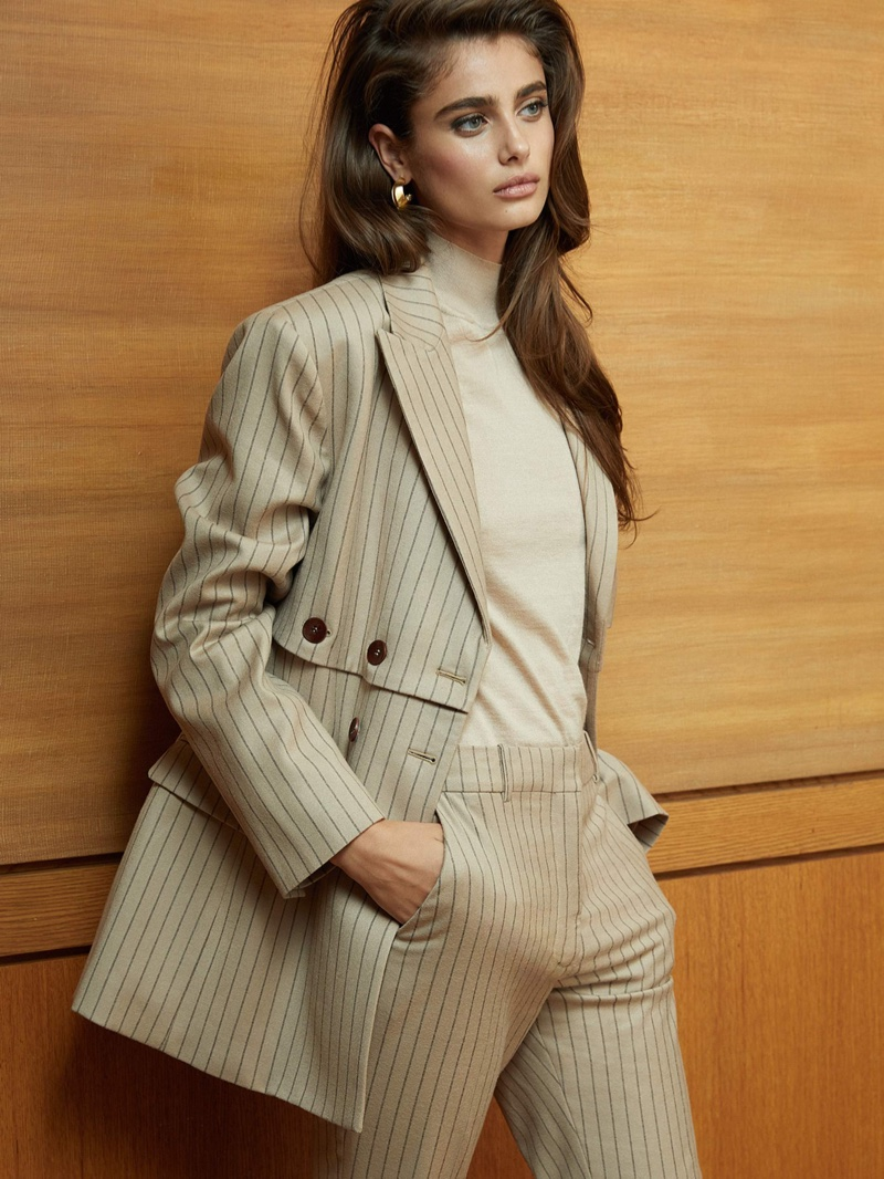 Taylor Hill Models Chic Neutral Fashions for PORTER Edit