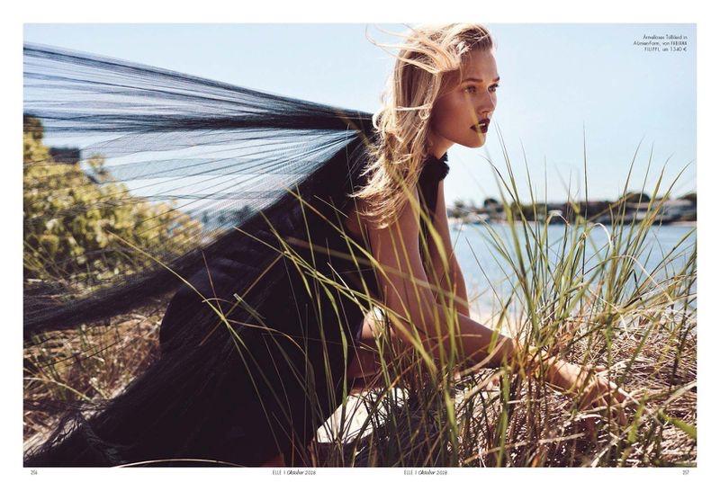 Toni Garrn Models Black & White Fashions for ELLE Germany