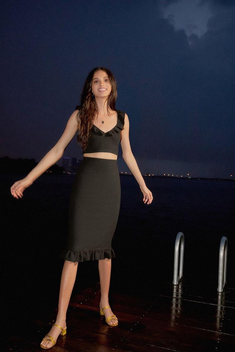 UO Sophia Ruffle Cropped Top and Sophia Ruffle Midi Skirt