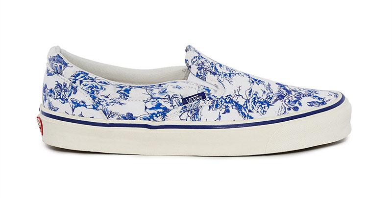 Vans x Opening Ceremony Chinoiserie OG Classic Slip-On LX Sneaker in Blue $75