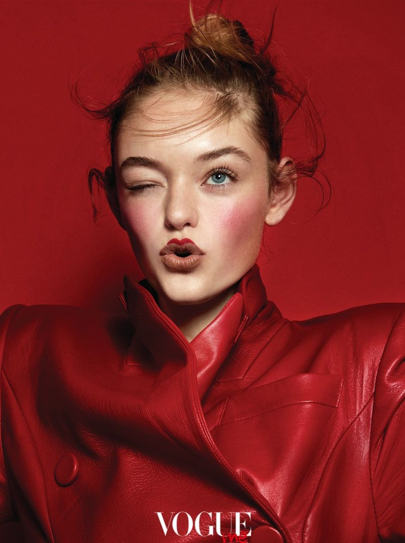 Willow Hand is in the Red for Vogue Taiwan Me Beauty Spread