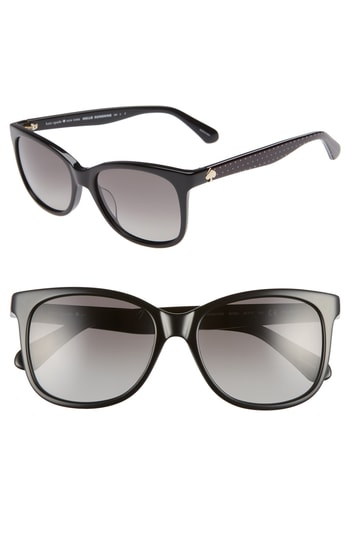 Women's Kate Spade New York Danalyn 54Mm Polarized Sunglasses - Black Polarized