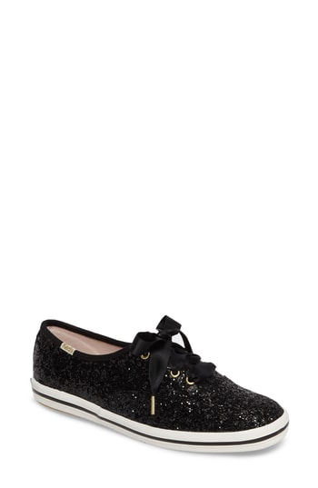 Women's Keds For Kate Spade New York Glitter Sneaker, Size 5 M - Black