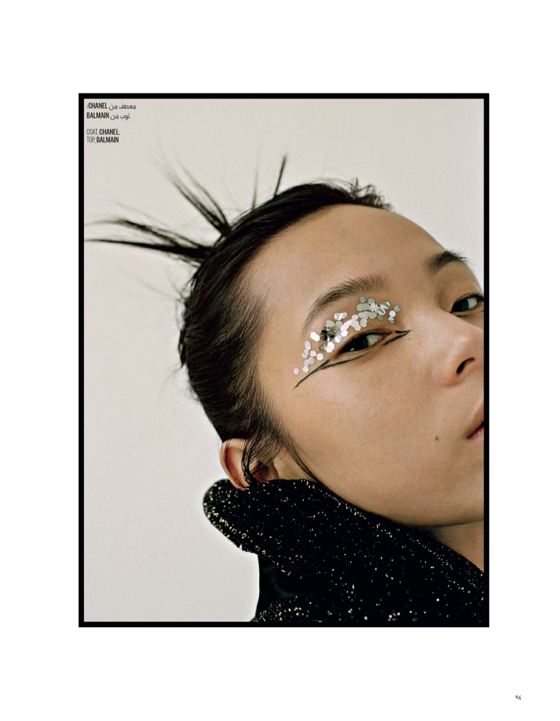 Xiao Wen Ju Poses in Embellished Looks for Vogue Arabia