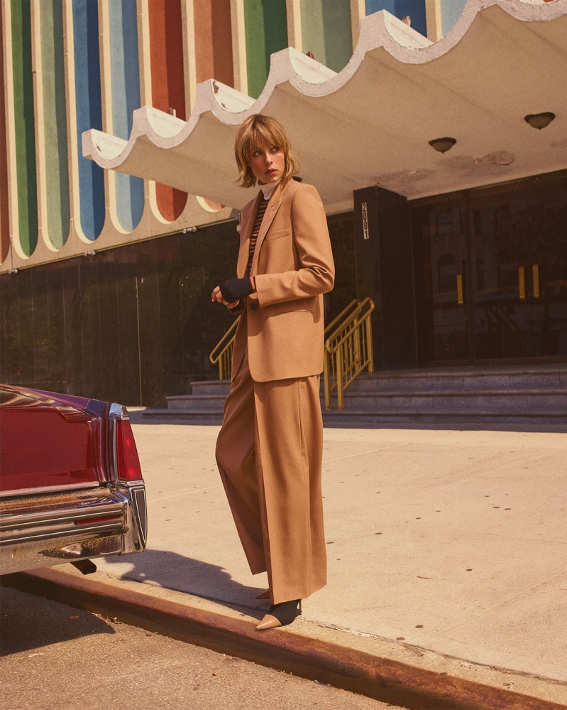 Edie Campbell suits up in Zara 70's Show fall 2018 lookbook