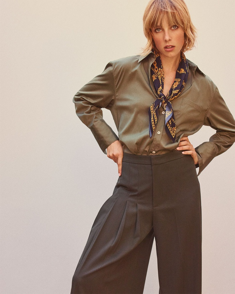 Edie Campbell poses in 1970's inspired styles for Zara fall 2018 lookbook