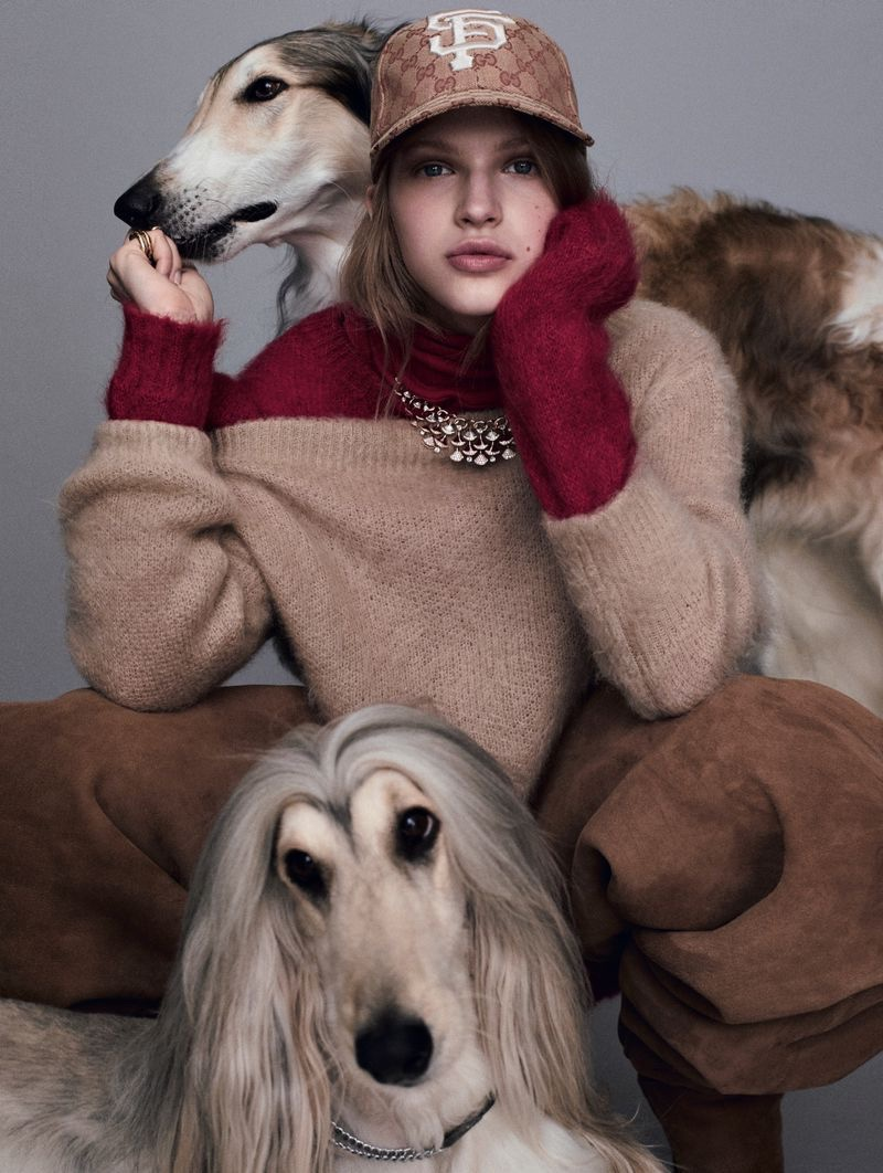 Aivita Muze Poses Alongside Fluffy Co-Stars in Marie Claire Italy
