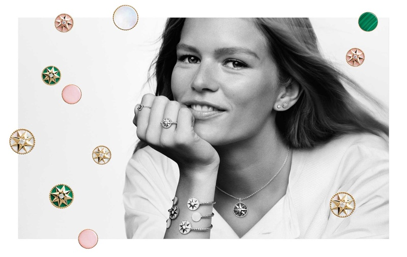 Anna Ewers poses for Dior Rose des Vents jewelry campaign