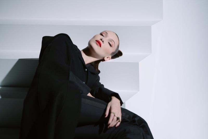 Model Bella Hadid wears Dior Rouge Matte lipstick in 999