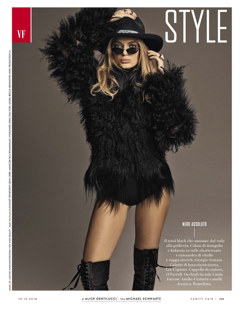 Bregje Heinen Rocks All-Black Ensembles for Vanity Fair Italy