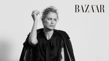 Carolyn Murphy Poses in Dark Looks for Harper's Bazaar Taiwan