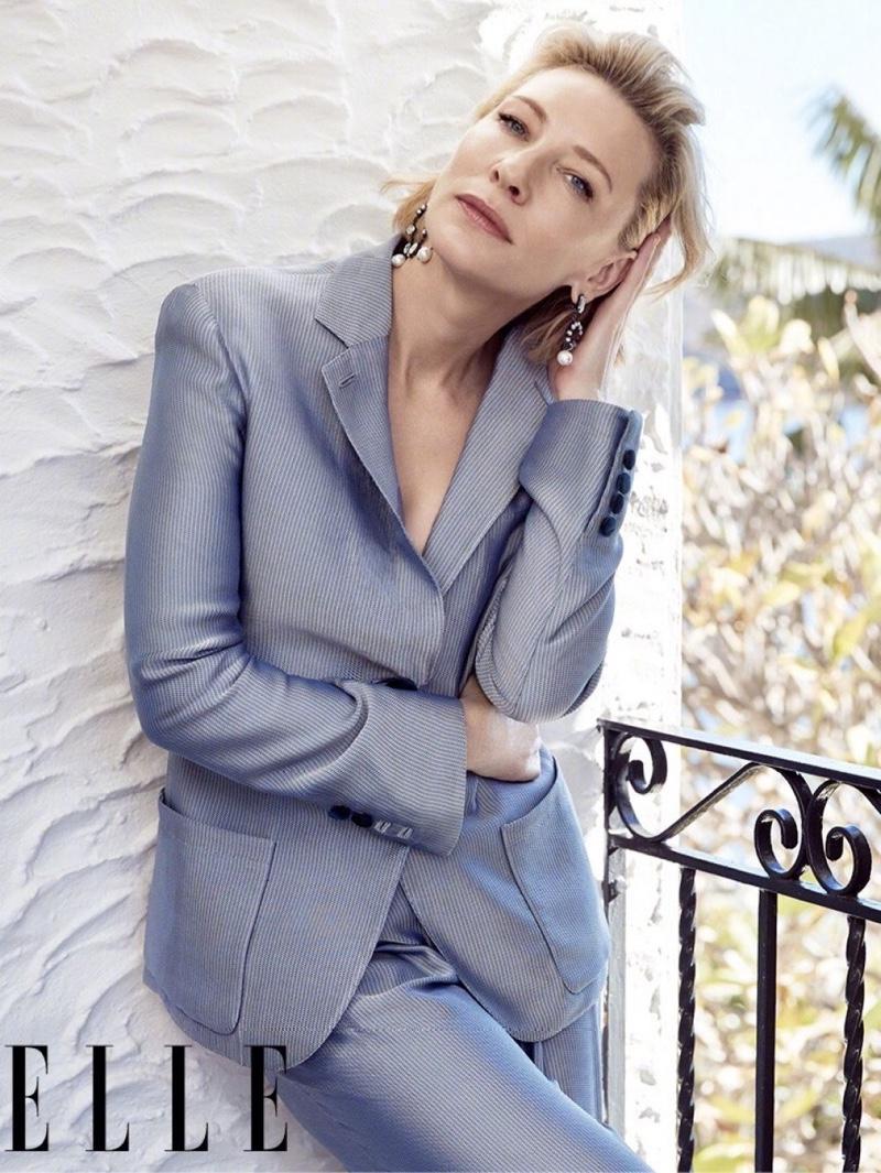 Cate Blanchett poses in Giorgio Armani pantsuit