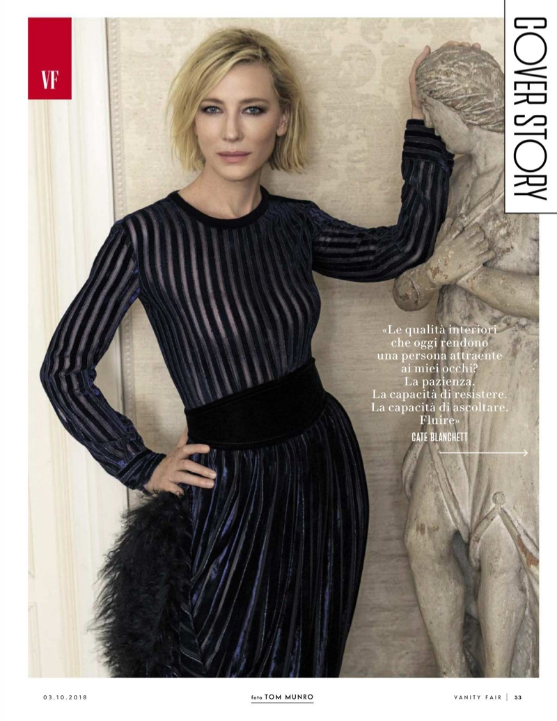 Actress Cate Blanchett wears Giorgio Armani top and skirt
