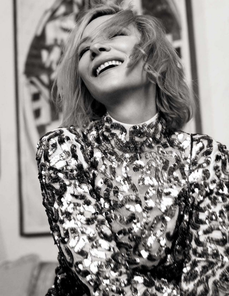 Flashing a smile, Cate Blanchett gets her closeup in this black and white shot