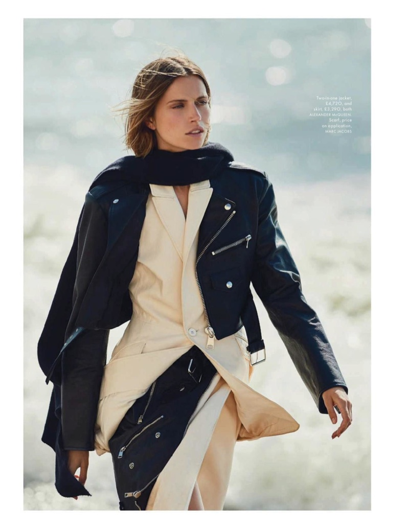 4a06f3d29c681 Cato Van Ee Models Fall Looks at the Beach for ELLE UK