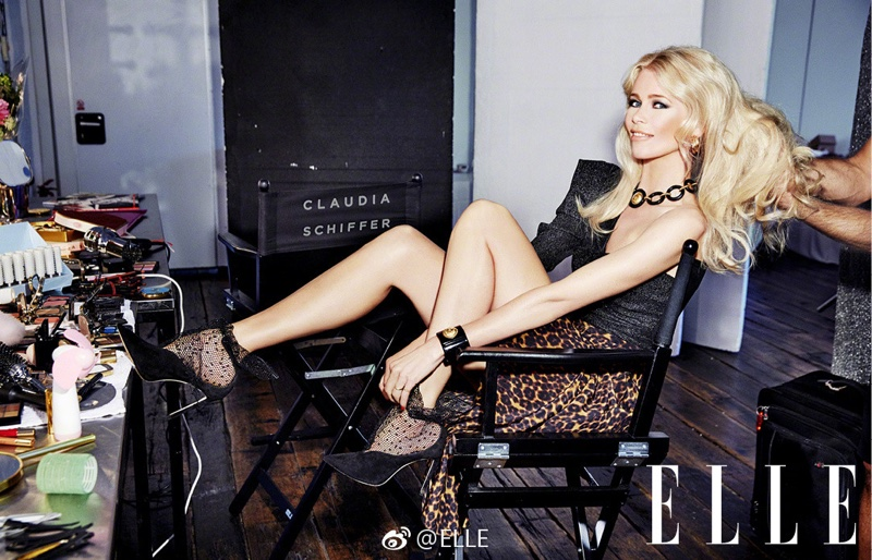 Claudia Schiffer Turns Up the Glam Factor for ELLE Portugal