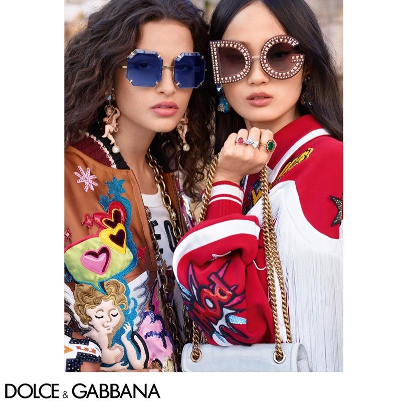 Chiara Scelsi and Hyun Ji Shin front Dolce & Gabbana Eyewear fall-winter 2018 campaign
