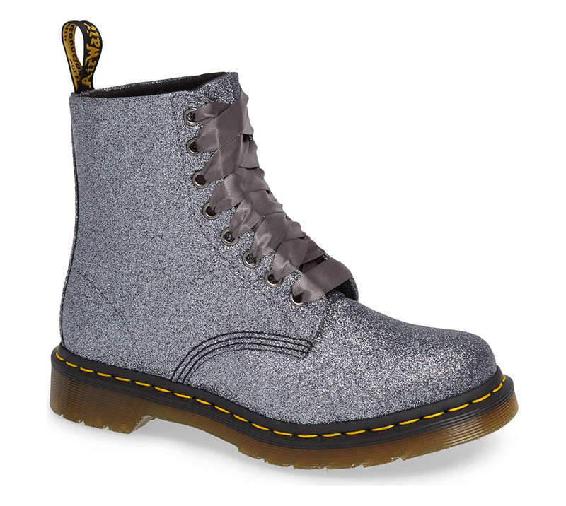 Dr. Martens 1460 Glitter Bootie in Pewter $87.24