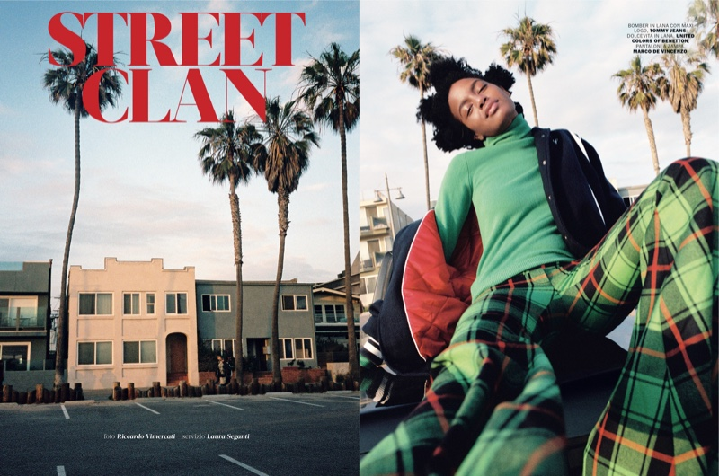 Ebonee Davis Models Hip Plaid Style in Marie Claire Italy
