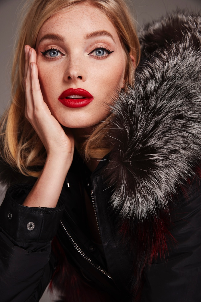 Elsa Hosk shows off red lips in Nicole Benisti fall-winter 2018 campaign