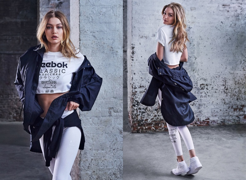 Gigi Hadid strikes a pose for Reebok Be More Human campaign