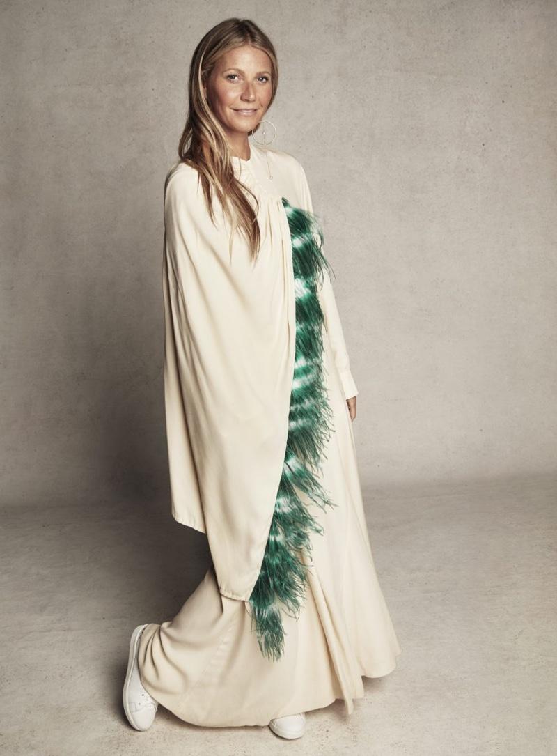 Gwyneth Paltrow wears Dries Van Noten dress and APC sneakers