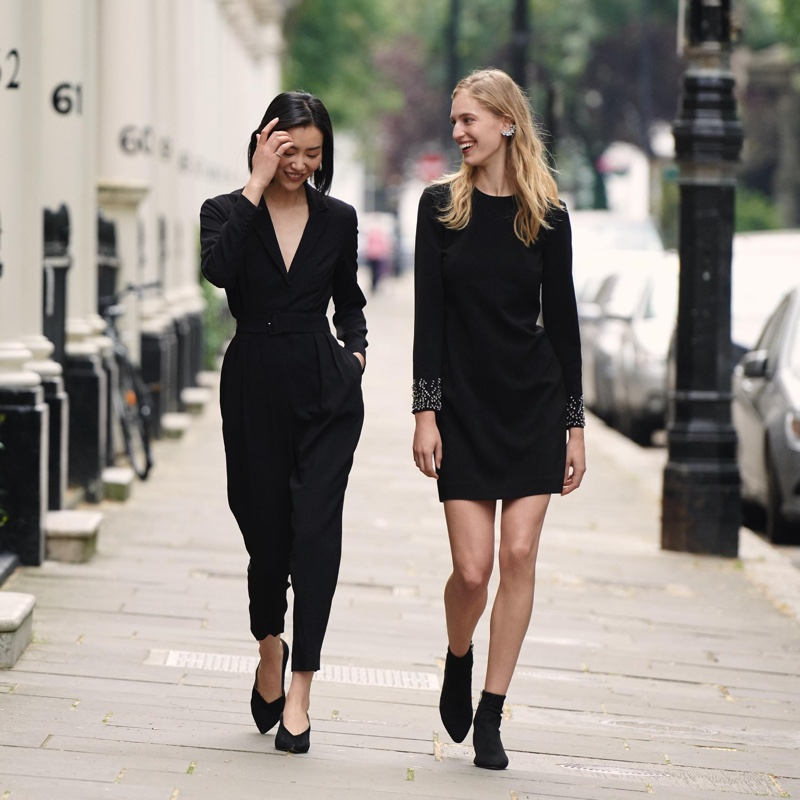 (Left) H&M Long-Sleeved Jumpsuit (Right) H&M Dress with Rhinestones and Ankle Boots