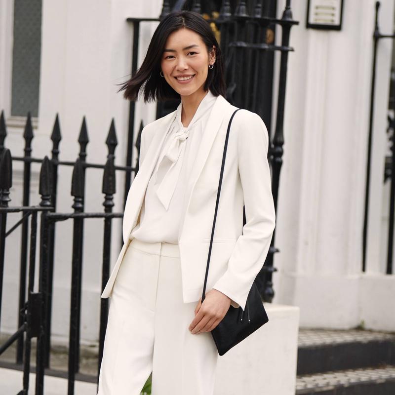 H&M Jacket, Wide-Leg Pants and Small Shoulder Bag