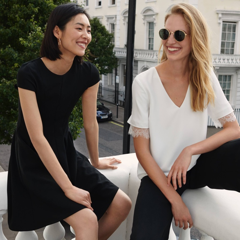 (Left) H&M Knee-Length Dress (Right) H&M V-Neck Blouse with Lace and Wide-Leg Pants