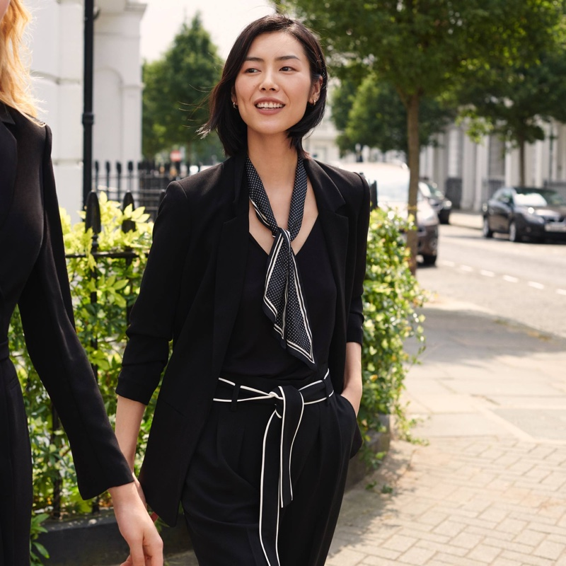 H&M Jacket with Gathered Sleeves, V-Neck Blouse with Lace, Tuxedo Pants with Belt and 2-Pack Hair Scarves