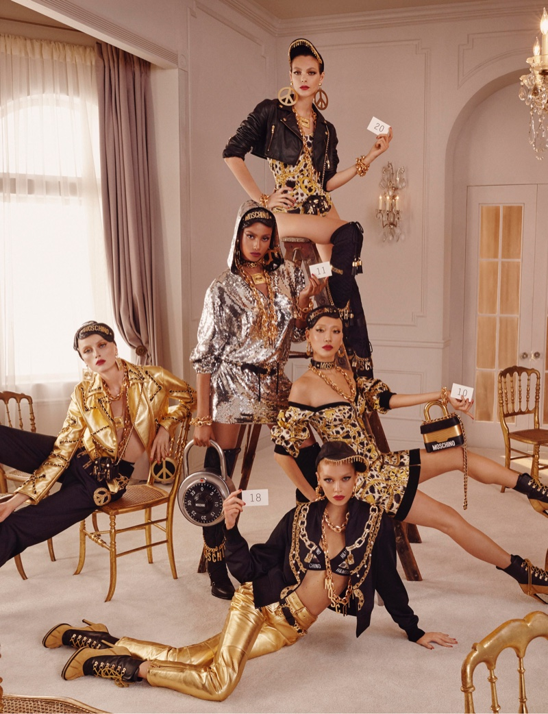 Vittoria Ceretti, Rianne Von Rompaey, Stella Maxwell, Soo Joo Park and Imaan Hammam front H&M x Moschino collection campaign