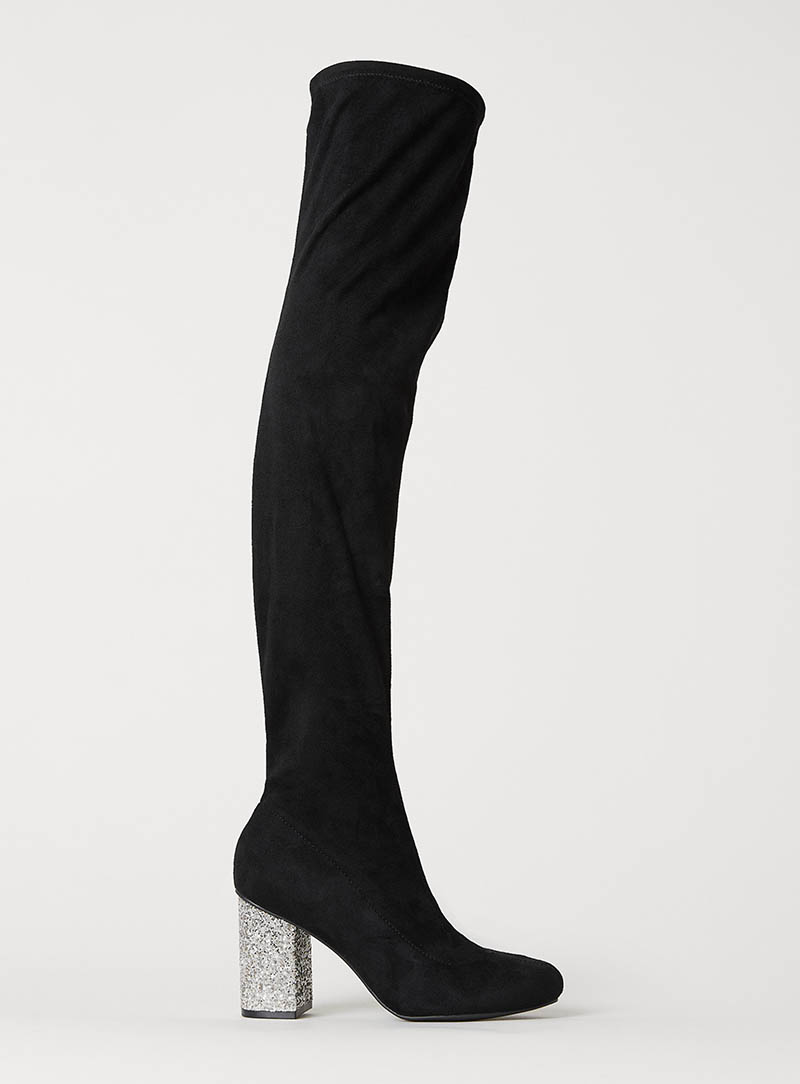 H&M Thigh High Boots with Glitter Heel $59.99