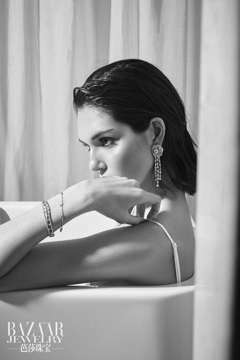 Julia Fort Poses in Bridal Lingerie for Harper's Bazaar China