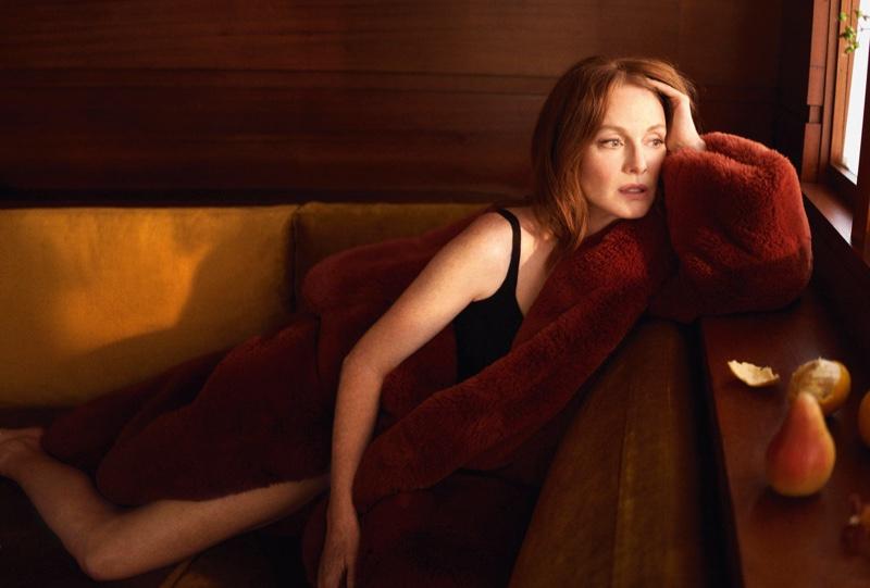 Actress Julianne Moore wears a faux fur coat