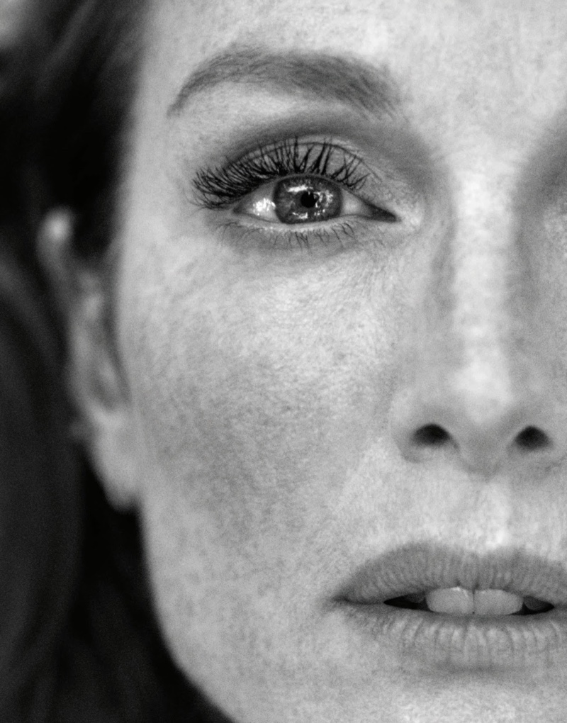 Actress Julianne Moore shows off her freckles in this black and white shot