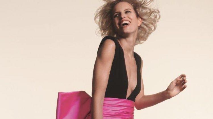 Karolina Kurkova models black and pink minidress from Paule Ka's spring 2019 collection