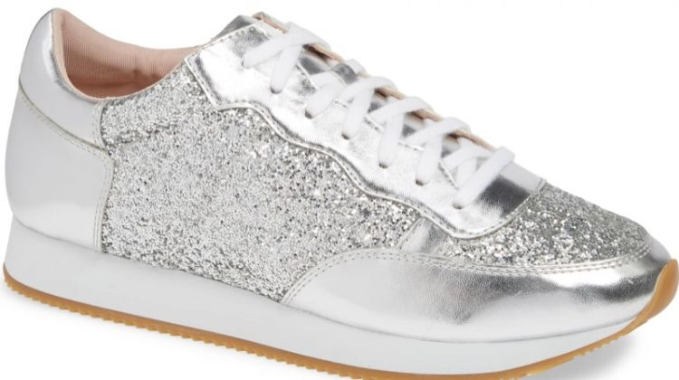 Kate Spade Felecia Sneaker in Silver Glitter $118