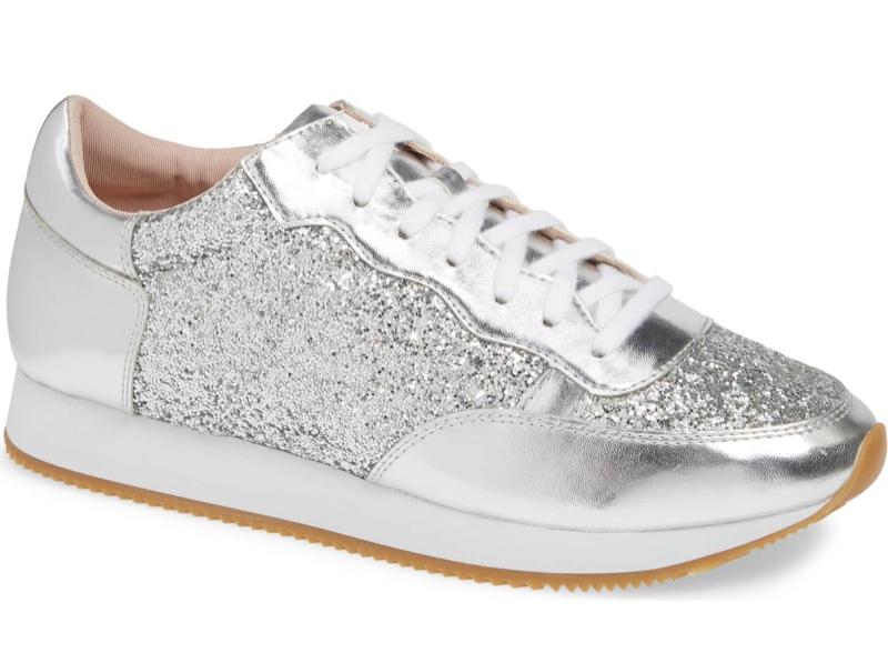 Kate Spade Felecia Sneaker in Silver Glitter